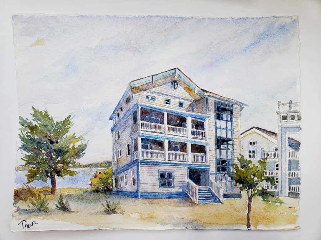 Watercolor of House in home tour