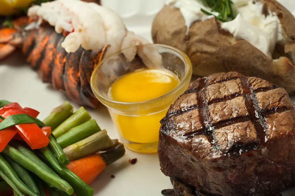 Lobster and steak at Fager's Island